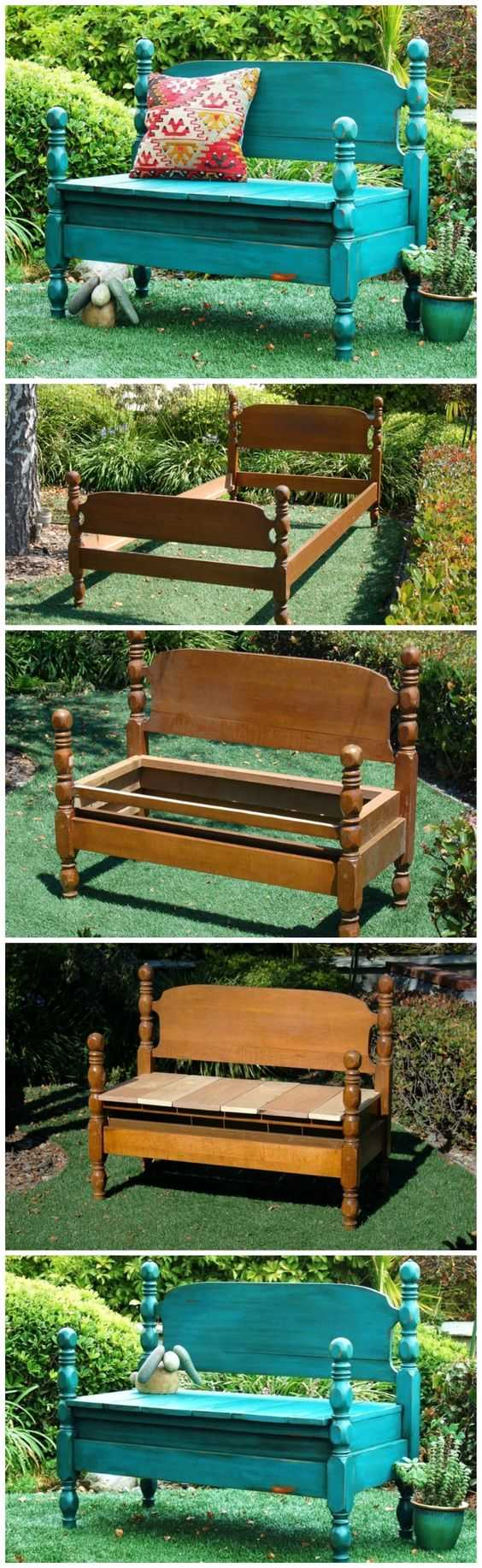 A garden bench creates a homely feeling in an outdoor space. Take a look at this one, re-purposed from an old bed into a rustic bench via Healthy Home & Kitchen