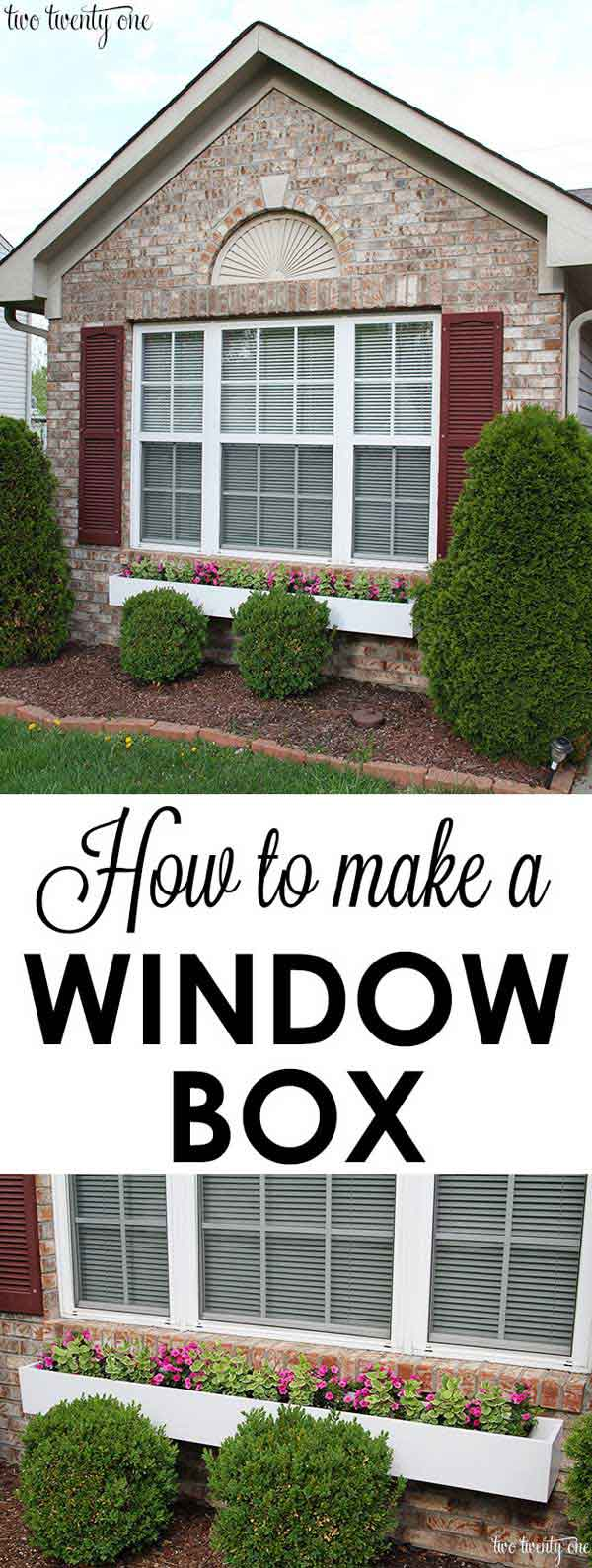 A window box is a simple addition, but it can brighten up your front yard considerably. Via Two Twenty One